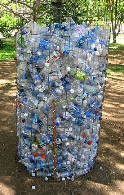 a huge bin of thrown away water bottles in Honolulu