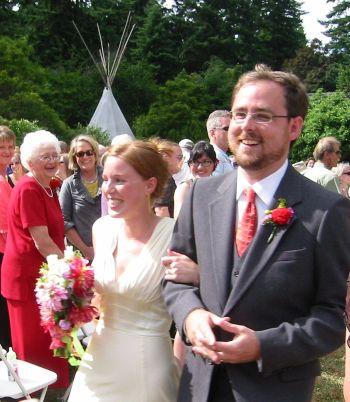 Ryan and Anna getting married on Vashon Island outdoor weeding