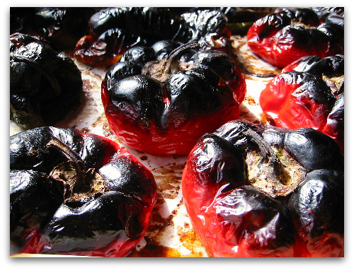 roasted red peppers burnt