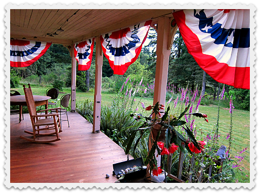 bunting on the front porch Vashon Island
